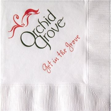 Promotional White 3- Ply Beverage Napkins, Coin edge Embossed