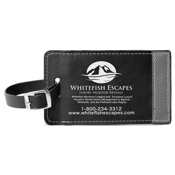 Promotional Two - Tone Leatherette Black Luggage Tag