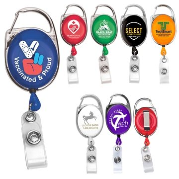 Promotional carabiner-retractible-metal-clip-badget-reel