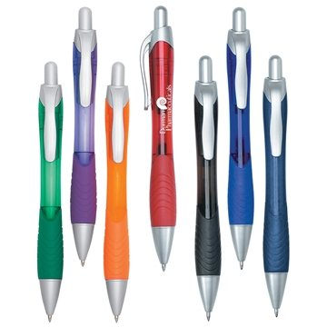 Promotional Rio Ball Point Pen With Contoured Rubber Grip