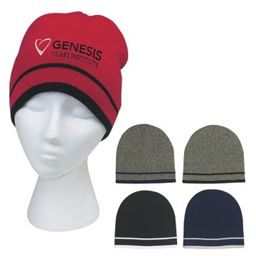 Promotional Knit Beanie With Double Stripes