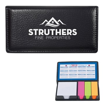 Promotional Leather Look Case Of Sticky Notes With Calendar