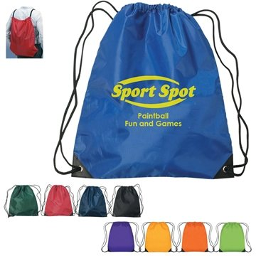 Promotional Polyester Multi Color Hit Large Drawstring Sports Pack 17 X 20