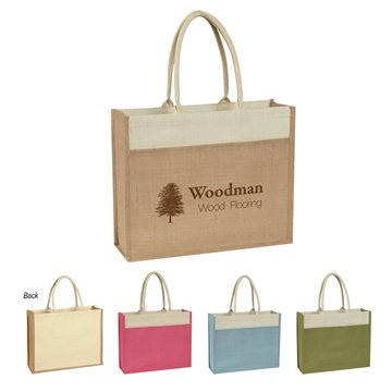 Promotional Jute Tote With Front Pocket