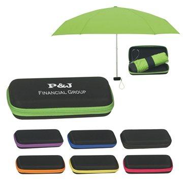 Promotional 37 Arc Folding Travel Umbrella With Eva Case