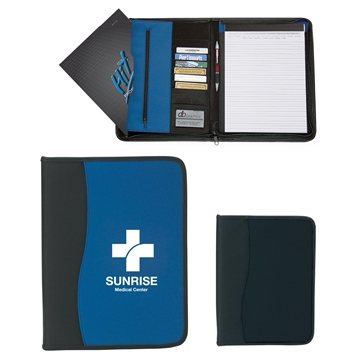 Promotional Large Microfiber Portfolio With Embossed PVC Trim