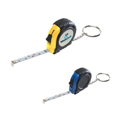 Promotional Rubber Tape Measure Key Tag With Laminated Label