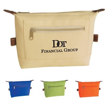 Promotional Microfiber Multi Color Zippin Cosmetic Bag 8 X 6.25