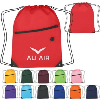 Promotional Polyester Multi Color Hit Sports Pack With Front Zip Pocket 13.5 X 18