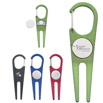 Promotional Aluminum Divot Tool With Ball Marker