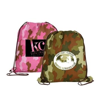 Promotional Non - Woven Camo Drawstring Backpack