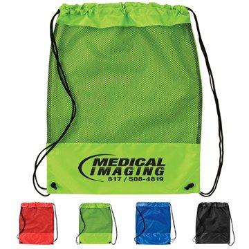 Promotional Mesh Panel Drawstring Backpack
