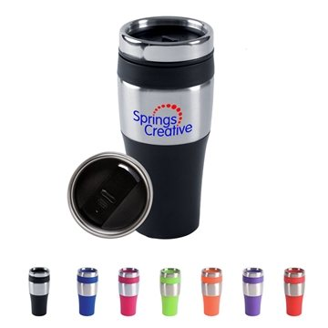Promotional 16 oz BPA - Free Plastic Silver Streak Tumbler