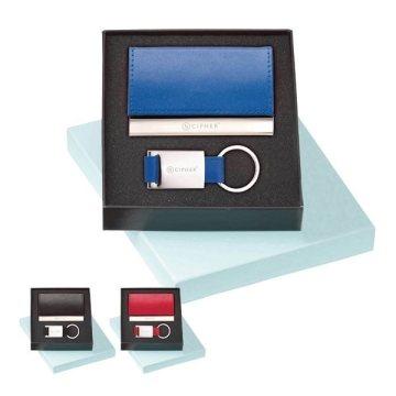 Promotional Leather Card Holder Key Ring Set