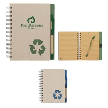 Promotional Eco - Rich 5 X 7 Spiral Notebook Pen