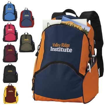 Promotional Polyester Multi Color On The Move Backpack 12.5 X 17