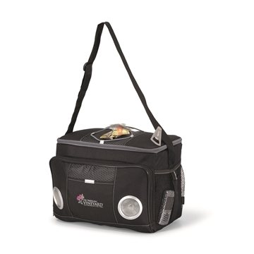 Promotional polyester-honeycomb-accent-24-can-encore-music-cooler-bag-black