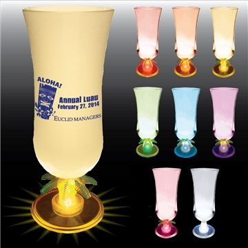 Promotional 15 oz Lighted Palm Tree Stem Hurricane