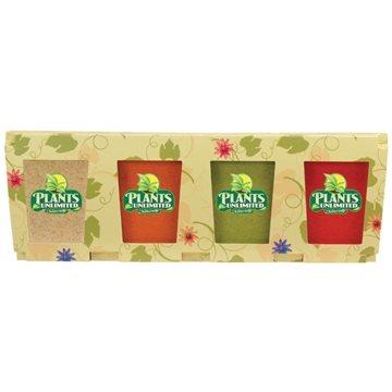 Promotional Promo Planter, 4- Pack Planter Set, Full Color Digital