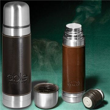 Promotional Empire Leather - Wrapped Thermos