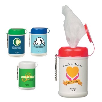 Promotional mini-wet-wipe-canister
