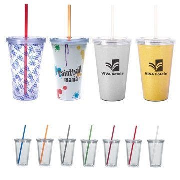 Promotional 16 oz Double Wall Plastic Tumbler With Insert