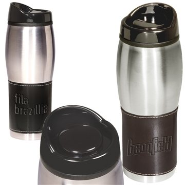 Promotional leather-wrapped-tumbler