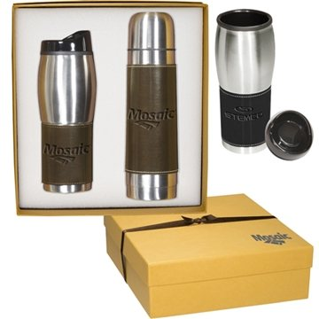 Promotional Leather - Wrapped Thermos / Tumbler Set