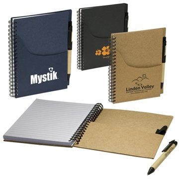 Promotional Eco Handy Jotter with Pockets and Pen Combo