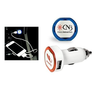 Promotional USB Car Charger With Dual Ports LED Ring