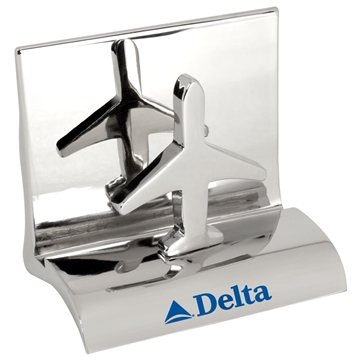 Promotional Chrome Metal Business Card Holder - Airplane