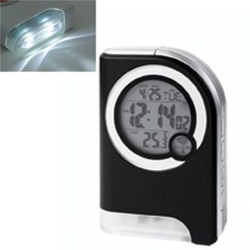 Promotional Atomic Travel Alarm Clock With Torch Light