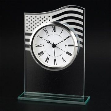 Promotional US Flag Glass Clock