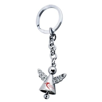 Promotional Angel Keychain With Crystals And Jingling Bell