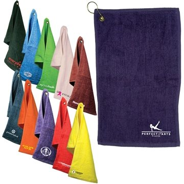 Promotional Fingertip Towel With Grommet Dark Colors
