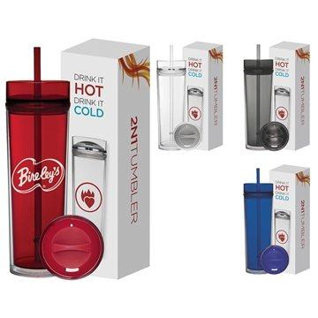 Promotional 16 oz Tube Tumbler Hot Cold Gift Set