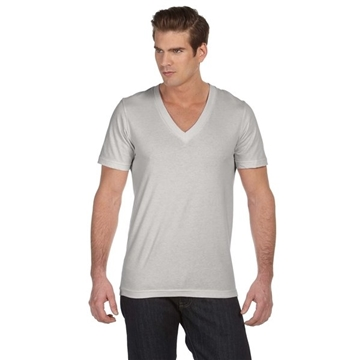 Promotional Canvas Unisex Jersey Short - Sleeve Deep V - Neck T - Shirt