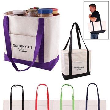 Promotional Cotton Canvas Multi Color Boat Tote Bag 20.5 X 13