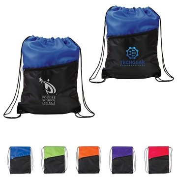 Promotional Polyester Multi Color 2- Tone Drawstring Backpack With Zipper 13X 16.75