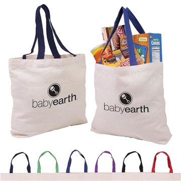 Promotional Cotton Canvas Tote with Gusset Color Accent Handles