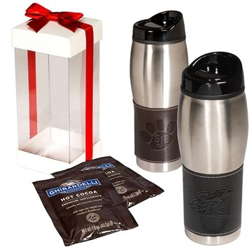 Promotional Leather - Wrapped Tumbler with Ghirardelli(R) Hot Cocoa
