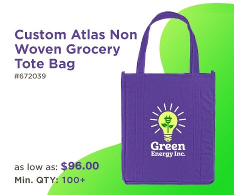Custom Atlas Non Woven Grocery Tote Bag