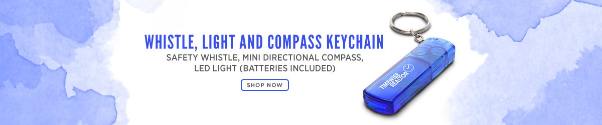 Whistle, Light And Compass Keychain