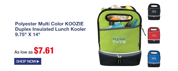 Polyester Multi Color KOOZIE Duplex Insulated Lunch Kooler 9.75 X 14