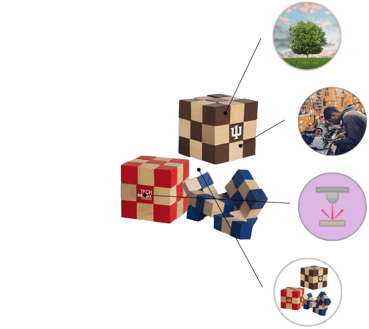 Eco Friendly Wooden Elastic Cube Promotional Puzzle