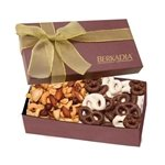 Promotional The Executive Gift Box - Chocolate Covered Pretzels & Mixed Nuts
