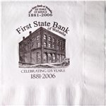 Promotional White 3-Ply Luncheon Napkins, Coin edge Embossed