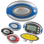 Promotional Oval Clip-On Pedometer/Clock