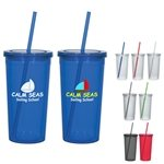 Promotional 24 oz Custom Double Wall Tumbler With Straw