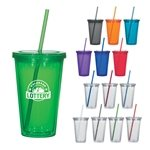 Promotional 16 Oz Double Wall Acrylic Tumbler With Straw